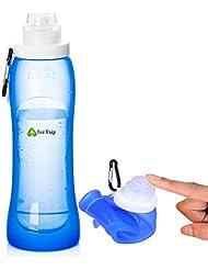 Gourde - Bouteille d'eau Silicone pliable sans Bisphenol A (BPA) - Ideale pour Tour du monde, Camping, Sport, Randonnées