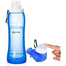 Botella de agua de silicona plegable sin Bisphenol A (BPA),ideales para viajar y hacer deporte