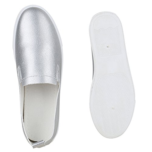 Damen Sneakers Slip-ons Sportliche Slipper Freizeit Schuhe Silber