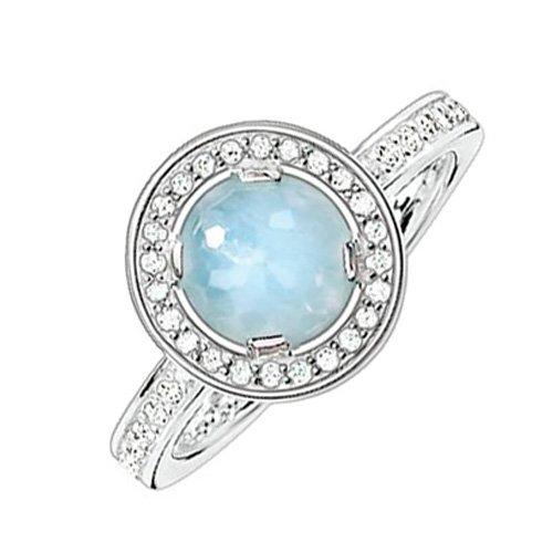 Thomas Sabo Damen-Ring Glam & Soul 925 Sterling Silber Zirkonia weiß Milky Aquamarine hellblau Gr. 56 (17.8) TR1971-694-31-56