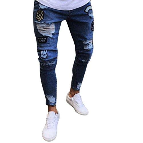Hose Herren Sommer Sonnena Lang Hose Slim Männer Jeanshosen Herren Denim Pants Durchbohrte mit Abzeichen Biker Zipper Skinny Ausgefranste Mode 2018 Hose Fashion Sporthose Casual (3XL, Dunkelblau)