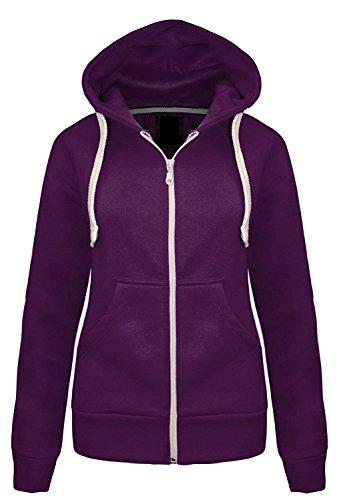 Momo&Ayat Fashions Ladies Girls Plain Hoodie Sweatshirt Fleece gefütterte Jacke EUR Größe 36-50 (EUR 38 (UK 10), Lila)