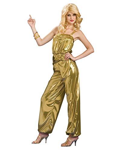 Horror-Shop Goldener Diva Jumpsuit im 70er Jahre Style Diva Jumpsuit