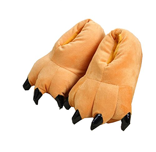 Braun Soft Kostüm - LANFIRE Unisex Soft Plüsch Haus Hausschuhe Tier Kostüm Pfote Claw Schuhe (S (Kind/Größe: 28-34), braun(Brown))