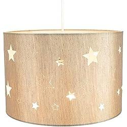 Pendentif/Abat-jour en lin beige contemporain pour enfants/enfants avec étoiles découpées au laser par Happy Homewares