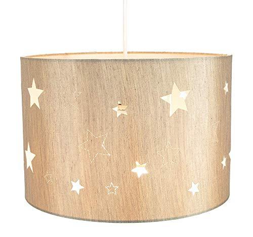 Lámpara colgante estilo contemporáneo de Lino Beige para Niños y Chicos con estrellas cortadas con láser por Happy Homewares