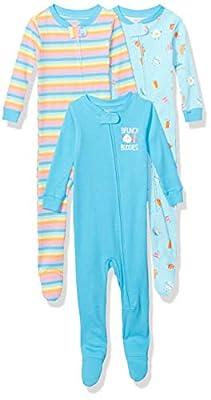 Marca Amazon - Spotted Zebra Pijamas de Algodón de Ajuste Cómodo Para Dormir (3 Unidades) - pajama-sets Unisex niños