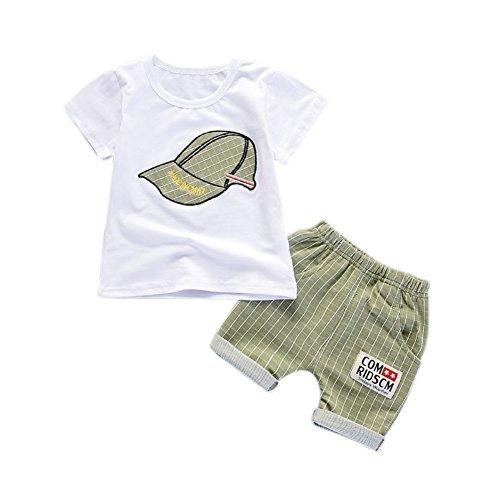 Blaward Baby Jungen Outfits Sommer Kleidung Sets Cap Druck T-Shirt und Short Plaid Hosen 0-4Jahre - 3 Stück Plaid-t-shirt