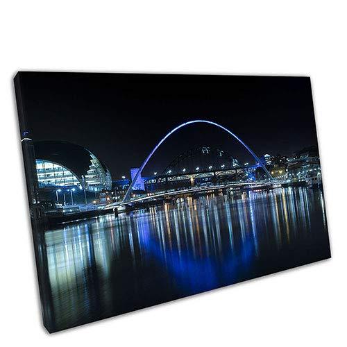 EACanvas Kunstdruck auf Leinwand, Motiv Millennium Bridge, Newcastle Gateshead Quayside, Blau, A4-12 x 8 Inch