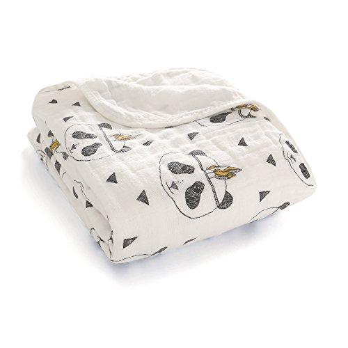 Couverture en coton mousseline doux et confortable pour poussette, deux épaisseurs,120 cm x 120 cm environ, unisexe