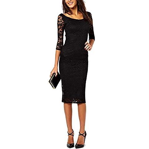 Damen Spitzen Cocktailkleid IHRKleid® Elegant Langarm Abendkleid Brautjungfer Ballkleid Rundhals