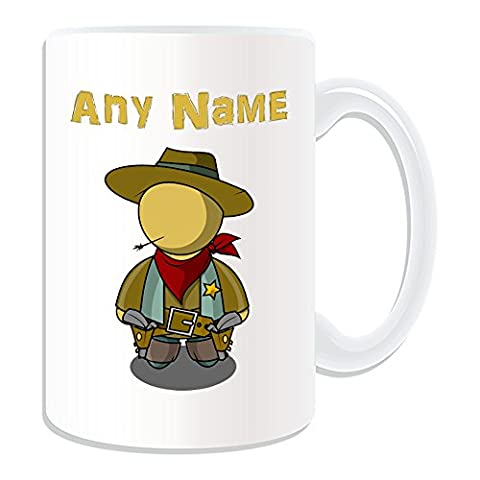 Personalised Gift - Large Cool Cowboy Mug (Fairy Tale Design Theme, White) - Any Name / Message on Your Unique - Straw
