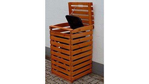 PROMADINO Mülltonnenbox, für 1×120 l aus Holz, B/T/H: 68/63/111 cm braun - 2