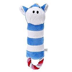 Rrimin Animal Pattern Calf Donkey Pet Dog Toy Plush Cute Chew Squeaker Sound Toy(Blue)