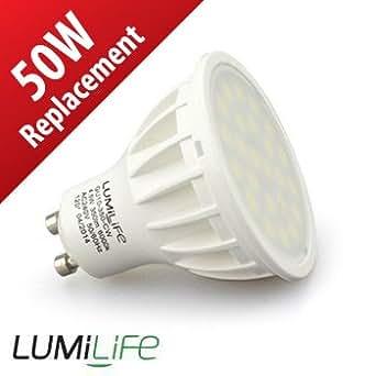 Lumilife Spot LED GU10 - 4,5 watts (équiv. 55w) - Diffusion large 120° - Blanc Froid