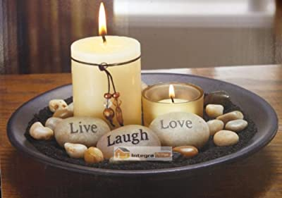 Glass Votive Candle Holder Set With Stone & Rock & Wooden Tray