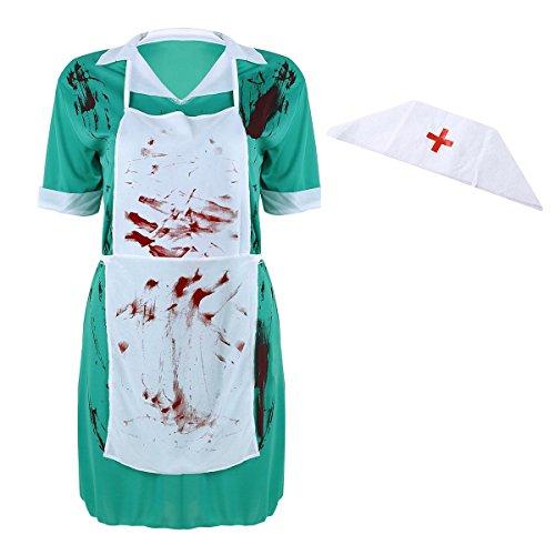 Agoky Erwachsenenkostüm Chirurg Damen Herren Zombie Arzt Doktor Kostüm Halloween Horror Verkleidung Outfits für Frauen One Size