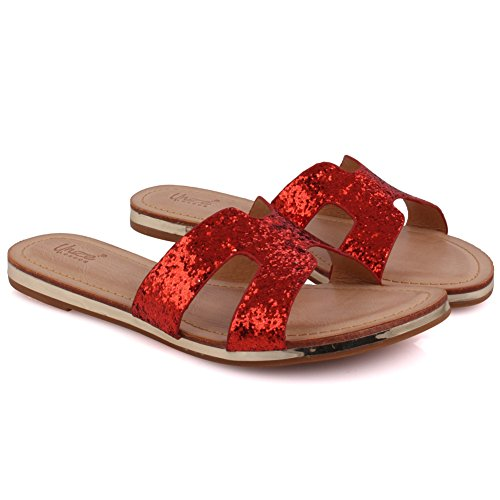 Unze New Women 'Keith' Open Toe Glittered Slider Sandales Summer Beach Party Get Together School Carnaval Casual Chaussons Pantoufles Grande-Bretagne Taille 3-8 Rouge