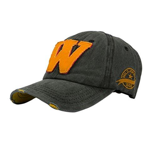 Buchstaben Hockey (Tongshi SnapBack Hüte Unisex: Sommer Buchstabe W Hockey Baseball Caps Hip Hop Hüte (schwarz))