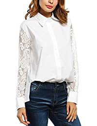 Zeagoo Womens Lace Sexy Shirt Tops Loose Long Sleeve Coat Blouse