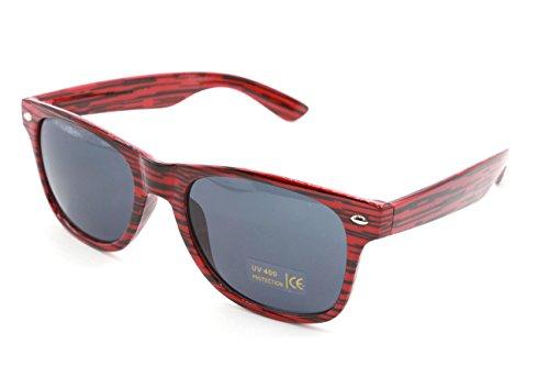 Preisvergleich Produktbild NEW Fashion Sonnenbrille UNISEX (Damen Herren) Retro Spiegel Aviator Mirror Round Brille SUNGLASSES (Wayfarer red stripes)