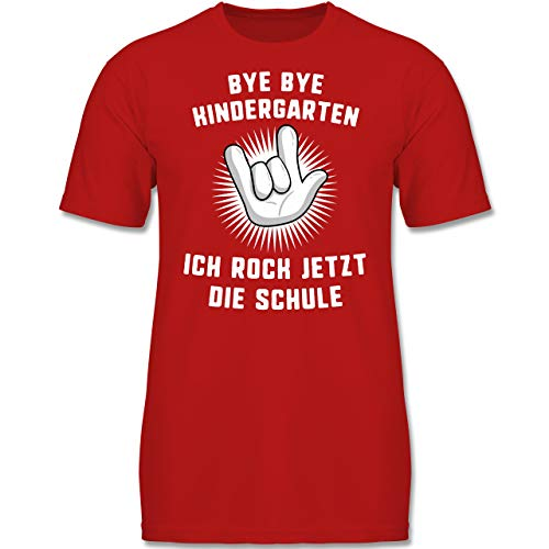 Verrückte Jungs T-shirt (Einschulung und Schulanfang - Bye Bye Kindergarten Ich Rock jetzt die Schule Hand - 140 (9-11 Jahre) - Rot - F130K - Jungen Kinder T-Shirt)