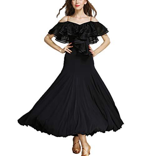 Tanz Barbie Kostüm - Riemen Sommer Ballsaal Kleider Großes Lotusblatt Kragen Social Tango Dance Lob Kleid Glatte Salsa Tanzkleidung,Black,L