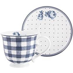 Katie Alice taza de Indigo Gingham Vintage y Lunares plato, porcelana, violeta, 2piezas