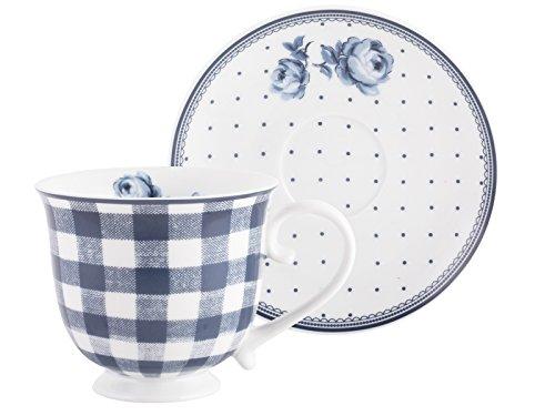Katie Alice Vintage Indigo Porzellan-Tasse und -untertasse im Set, 200 ml (7 fl oz)