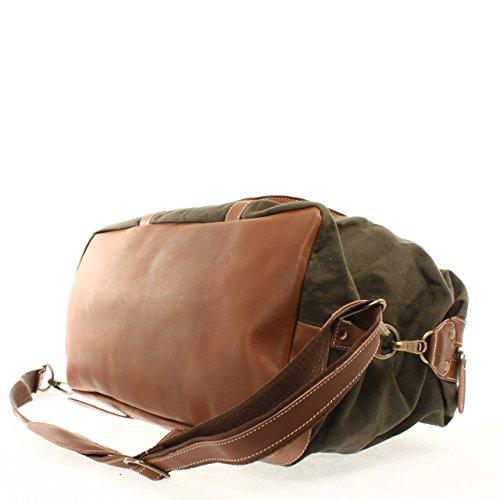 LECONI Weekender groß Canvas Echtleder Retro Reisetasche Unisex Damen Herren Sporttasche Handgepäck 60x38x25cm LE2010-C grün / braun