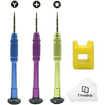 Cemobile Kit de herramientas de reparación para iPhone 7/7 Plus / 6S Plus / 6S / 6 Plus / 6 / SE / 5S / 5 / 5C / 4S / 4, iPod, iTouch, 1.5mm Phillips, 0.8mm Pentalobe, 0.6mm Tri Wing Destornillador Set Con soporte de magnetización libre (paquete de 4)