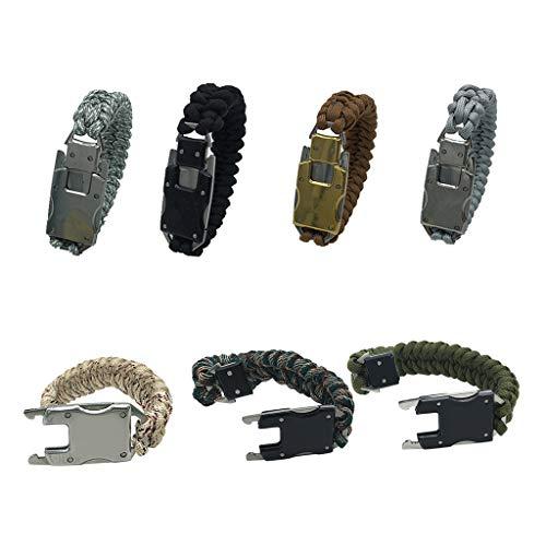 99native Outdoor Survival Armband Feuerstein Feuer Starter Scraper Whistle Gear Kits Pfeife 5 in 1 Multifunktionales Tool reflektierend Silber echter Fallschirmschnur (E)