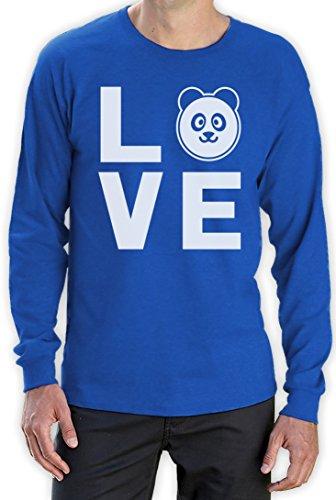 Love Panda - Bärenstarkes Geschenk Langarm T-Shirt Blau
