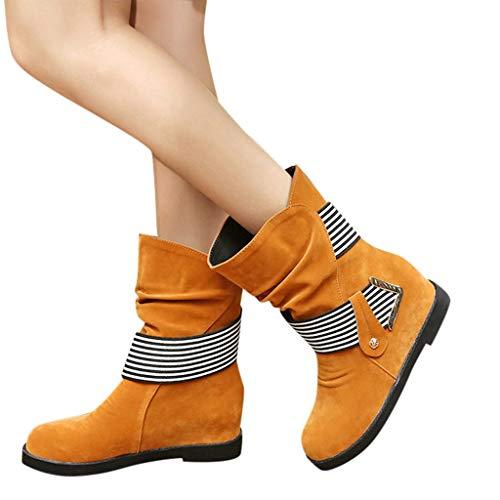 TianWlio Frauen Herbst Winter Stiefel Schuhe Stiefeletten Boots Stiefel Mode Solide Super Hohe Warme Flock ZipStiefeletten Boots Runde Zehe Schuhe Gelb 38