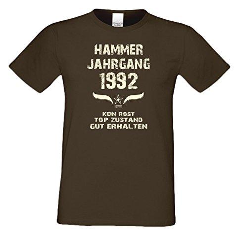 T-Shirt Herren Männer Motiv Hammer Jahrgang 1992 Geschenkidee zum 25. Geburtstag Geburtsjahr Freizeitlook Farbe: schwarz Braun
