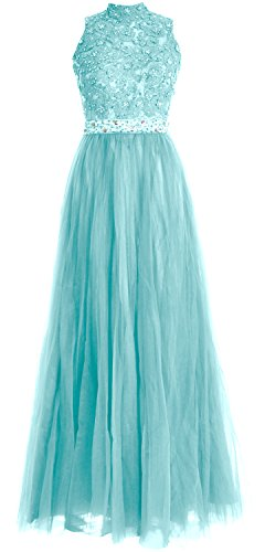MACloth Women High Neck Lace Tulle Long Prom Dress Wedding Party Formal Gown Aqua