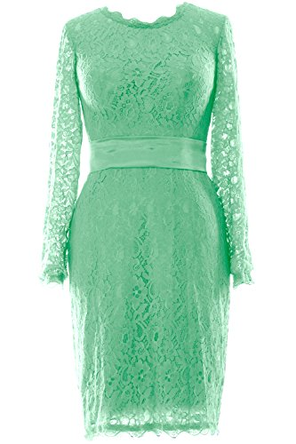 MACloth Women Long Sleeve Lace Short Cocktail Dress Wedding Party Evening Gown Menthe
