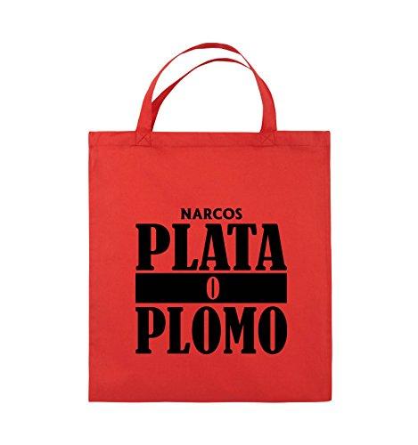 Borse Per Commedia - Plata O Plomo - Narcos - Borsa In Juta - Manico Corto - 38x42cm - Colore: Nero / Rosa Rosso / Nero