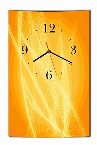 Homeyourself LAUTLOSE Designer Wanduhr Abstrakt orange gelb Uhr hochkant rechteckig Bild Dekoschild Bild 25 x 39 cm