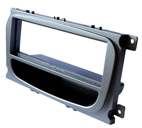 AERZETIX: Adaptateur Autoradio Façade Cadre Réducteur Argent pour Auto Voiture