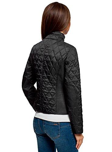 oodji Collection Damen Steppjacke mit Aufgesetzten Taschen Schwarz (2900N)