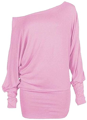 Nuovo donna plus size lungo Batwing maniche spalla scoperta Baggy Tops 36–62 Baby Pink