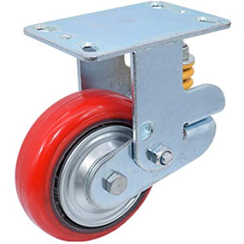 Moony Rollen 2 STÜCKE Polyurethan Caster Silent Casters Industrielle Universal-Rad Mit Bremse Büroausstattung Sitzmöbel Abriebfest Red-8 Inch Flat Bottom Orientation -