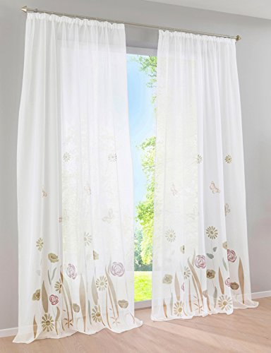 1Pc Rideau Voilage à Galon Fronceur Impression Fleurs Et papillons Décoration de Fenêtre Chambre / Salon / Balcon (Café, LxH/150x270)