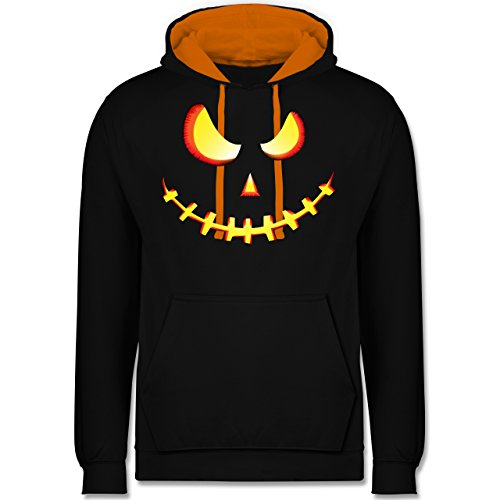 Halloween - Gruseliges Kürbis-Gesicht - M - Schwarz/Orange -