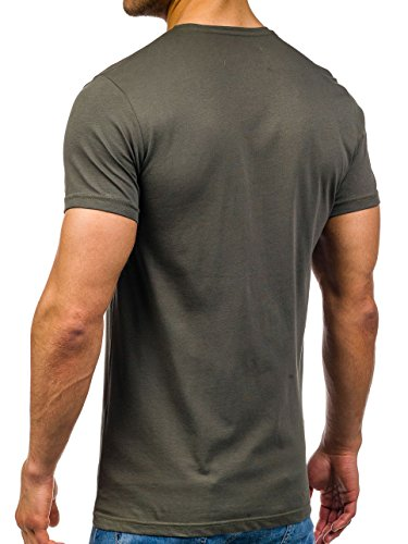 BOLF Herren T-Shirt Tee Kurzarm Rundhals Schadel Slim Aufdruck MIX 3C3 Motiv Grün_373