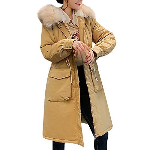 Amphia - Damen Winterjacke Wintermantel Lange Daunenjacke,Frauen Wolle Reißverschluss Tasche Hoodie Kordelzug Lange Jacken Outwear Coat