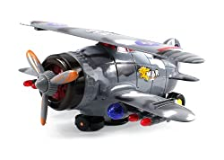 Aerial Combat Battle Biplane Battery Operated Bump and Go Toy Plane w/ Flashing Lights, Sounds, 360 Degree Turns, Rises Up and Down