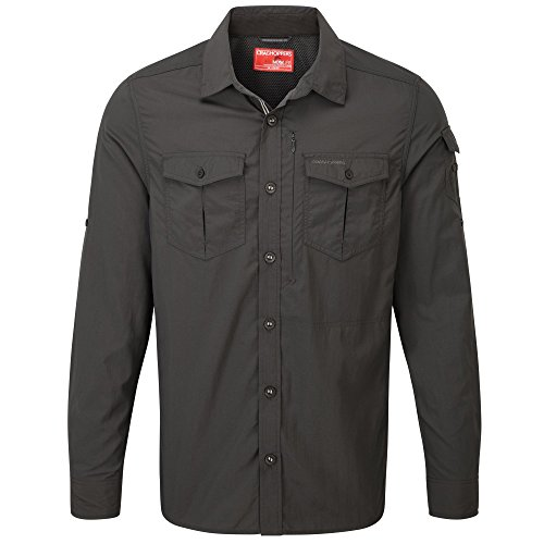 Craghoppers Herren Funktionshemd/Outdoor-Hemd NosiLife Adventure LS Shirt mit Insektenschutz dunkelgrau (229) XXXL