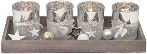 4 Set CHICCIE Argent Porte-bougies sur le plateau avec Déco - 35cm - Décoration De NOËL Décoration de table Noël